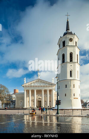Winter afternoon at Vilnius Cathedral. - Stock Image