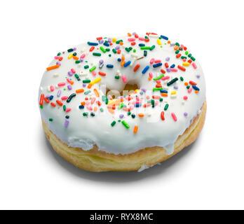White Sprinkle Donut Isolated on White Background. - Stock Image