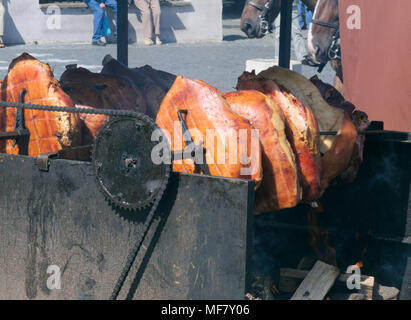 A spit for cooking roast shank in Prague - Stock Image