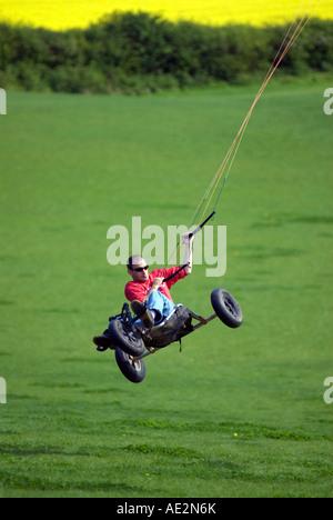 Doug Blane Power Kite Buggy at the Milton Keynes kite flying field Sherrington Newport Pagnell City of Milton Keynes - Stock Image