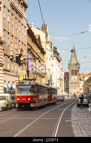 Czech Republic, Prague. Red street car and Jindrisska Tower. Credit as: Wendy Kaveney / Jaynes Gallery / DanitaDelimont.com - Stock Image