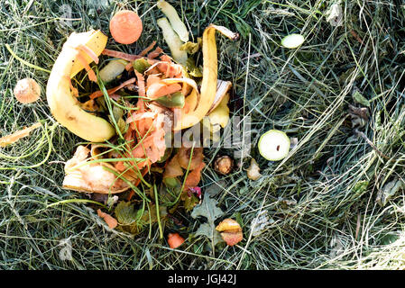 Leftover kitchen waste from a home deposited on a compost heap. Composting organic peelings and skins for garden - Stock Image