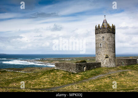 Doonagore Castle near Doolin on the Wild Atlantic Way in County Clare on the west coast of Ireland - Stock Image