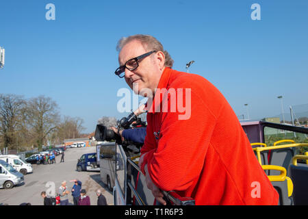 Aylesbury, United Kingdom. 28 March 2019. The pro Brexit campaign 'March for Leave' sets off from Aylesbury led by Leave Means Leave chairman John Longworth. PICTURED: Leave Means Leave chairman John Longworth.  Credit: Peter Manning/Alamy Live News - Stock Image