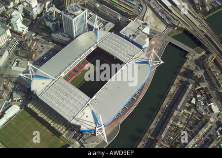 Aerial view of the Millennium Stadium in Cardiff, Wales, home of Welsh Rugby Union and the venue for concerts & - Stock Image