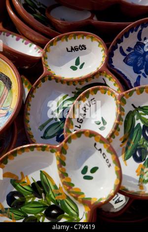Portugal, Algarve, Lagos, Colourful Pottery - Stock Image