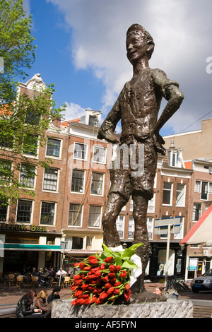 Amsterdam Spui with tulips - Stock Image
