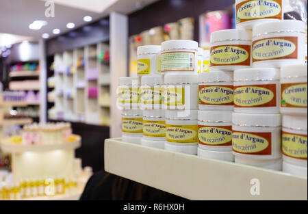 Argan oil products for sale in the Duty Free shop. Marrakech airport, Marrakesh Morocco North Africa - Stock Image