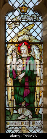 Stained glass window of Saint Gabriel at Waldringfield church, Suffolk, England, UK c 1917 by Powell - Stock Image
