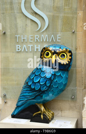 Owl outside the Bath Spa during 2018 event.All of the Owls were sponsored and auctioned at the end of the event with  profits going to local charities - Stock Image