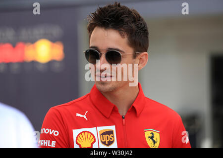 Silverstone, Northampton, UK. 11th July 2019. F1 Grand Prix of Great Britain, Driver arrivals day; Scuderia Ferrari, Charles Leclerc Credit: Action Plus Sports Images/Alamy Live News - Stock Image
