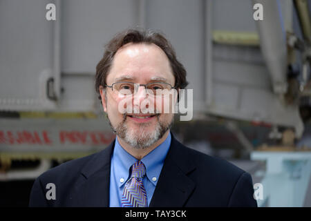 Garden City, New York, USA. May 23, 2019. ANDREW CHAIKIN, best-selling author of A Man on the Moon: The Voyages of the Apollo Astronauts, poses for photo at one of the Cradle of Aviation Museum events in celebration of 50th Anniversary of Apollo 11. Chaikin reminisced about growing up on Long Island during the Apollo space program and interviewing Apollo astronauts. The HBO miniseries From the Earth to the Moon was mainly based on Chaikin's book. - Stock Image