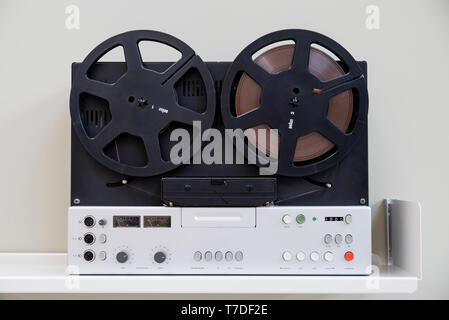 Iconic 20c Braun reel to reel tape recorder designed by Dieter Rams - Stock Image