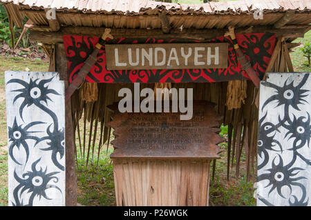 Entrance to the Lundayeh (Lun Bawang) tribal house at Mari Mari Cultural Village, Kota Kinabalu, Sabah, Malaysian Borneo - Stock Image