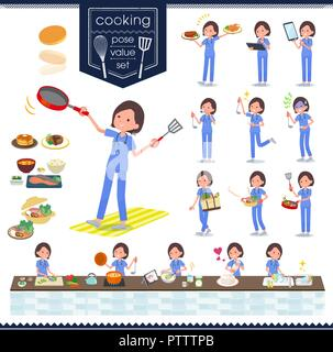 A set of Surgical Doctor women about cooking.There are actions that are cooking in various ways in the kitchen.It's vector art so it's easy to edit. - Stock Image