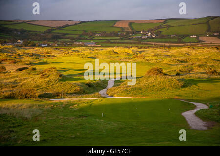 Saunton Golf Club West Course Devon UK at sunset - Stock Image