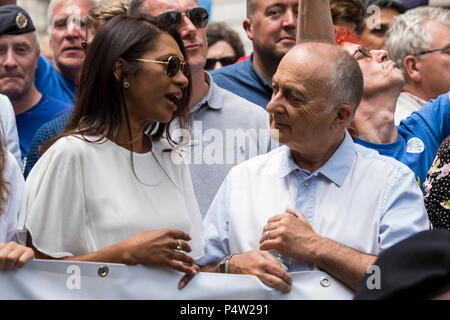 London, UK. 23 June 2018.Anti-Brexit march and rally for a People's Vote in Central London.Gina Miller in conversation with Sir Tony Robinson. - Stock Image