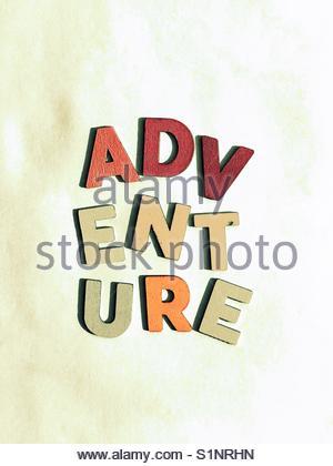 adventure (word) - Stock Image