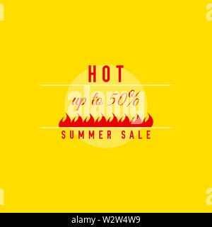 Hot Summer Sale Template. Flame Tag Vector Illustration - Stock Image