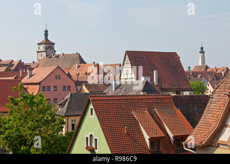 Skyline view from medieval ring wall, Rothenburg ob der Tauber, Franconia, Germany. Painted houses with red tile roofs. White Tower. City hall tower. - Stock Image
