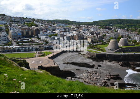 View of Ilfracombe, with the Landmark Theatre, known locally as Madonna's Bra on the promenade,  Ilfracombe, Devon, UK - Stock Image