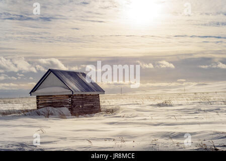 Aged wooden hut or shed in a snowy wintry landscape - Stock Image