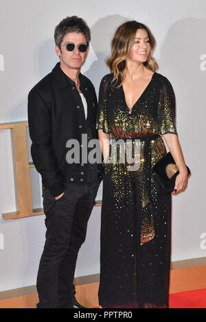 London, UK. 27th September 2018. Sara MacDonald and Noel Gallagher attend A Star Is Born UK Premiere at Vue Cinemas, Leicester Square, London, UK 27 September 2018. Credit: Picture Capital/Alamy Live News - Stock Image