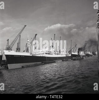1960s, steamship, 'Imperial Star' moored at London Docks. - Stock Image