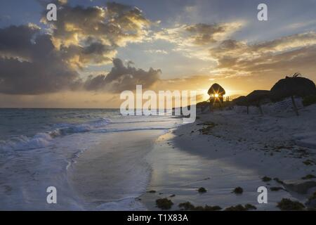 Dramatic Cloudscape and Beautiful Sunset Sky on Tropical Beach in Cayo Largo Del Sur Island in Caribbean Sea off the Cuba Coast - Stock Image