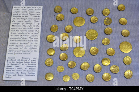 Hoard of 40 gold Iron Age Celtic coins from Great Leighs, made in 1st century BC, inside Chelmsford Museum, Chelmsford, Essex, UK - Stock Image
