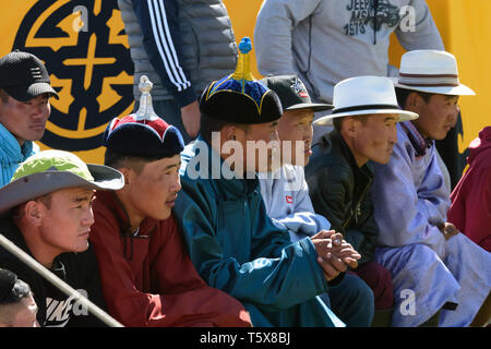 Naadam Festival in Khatgal, Mongolia. Spectators at a wrestling competition - Stock Image