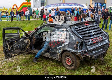 Bielsko-Biala, Poland. 12th Aug, 2017. International automotive trade fairs - MotoShow Bielsko-Biala. Wreck car parked. Credit: Lukasz Obermann/Alamy Live News - Stock Image