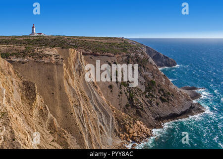 The Cabo Espichel Cape, with the 18th century lighthouse and a view over the Atlantic Ocean during sunset. Sesimbra, Portugal - Stock Image
