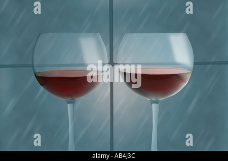 Two Glasses of Red Wine - Stock Image