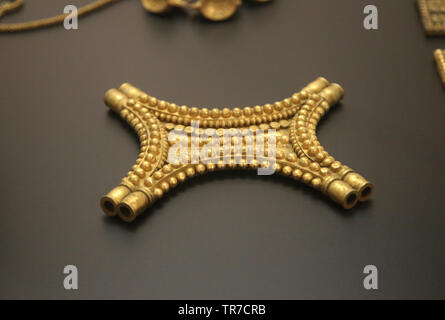 Treasure of El Carambolo. Tartessian/ Phoecian culture. 5th-7th BCE. From Camas. Archaeological Museum of Seville. Spain. - Stock Image