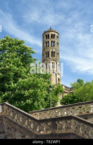 The 11th Century Tour Fenestrelle or Window Tower of the Cathedral of Saint Theodorit in Uzes, Gard, France - Stock Image