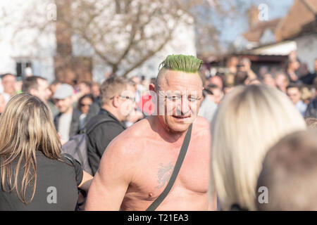 Braintree, Essex, UK. 29th Mar 2019.  Funeral of Prodigy frontman Keith Flint at St Mary's Church in Bocking attended by hundreds of his fans Credit: Ian Davidson/Alamy Live News - Stock Image