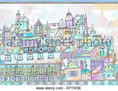Aerial view of ornately patterned fairytale city - Stock Image
