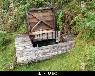Entrance to High Pasture Cave archaeological site, Kilbride, Isle of Skye, Scotland, UK - Stock Image