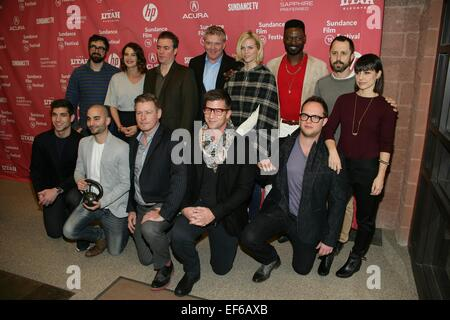 Park City, UT, USA. 27th Jan, 2015. (Back row) Andrew Bujalski, Cobie Smulders, Kevin Corrigan, Anthony Michael - Stock Image