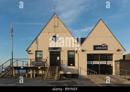 RNLI Lifeboat Station at Calshot on the Solent in Hampshire, UK - Stock Image