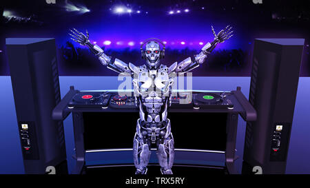 DJ Robot, disc jockey cyborg playing music on turntables, android on stage with deejay audio equipment, rear view, 3D rendering - Stock Image
