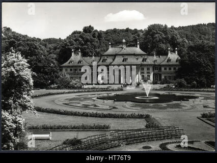 GERMANY - CIRCA 1969: A postcard printed in Germany, shows a Pillnitz Castle, Dresden, circa 1969 - Stock Image