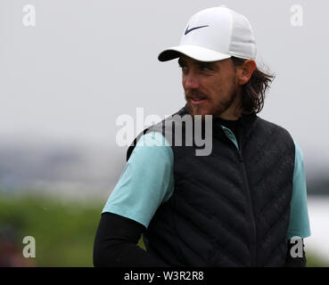 Portrush, County Antrim, Northern Ireland. 17th July 2019. The 148th Open Golf Championship, Royal Portrush Golf Club, Practice day ; Tommy Fleetwood (ENG) walks from the tee at the par three 13th hole Credit: Action Plus Sports Images/Alamy Live News - Stock Image