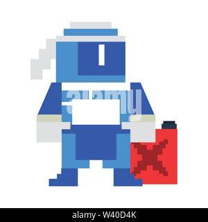 Videogame pixelated ninja character symbol - Stock Image