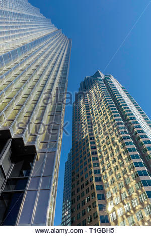 RBC Royal Bank tower left and Brookfield Place right in the Bay Street financial district of Toronto Ontario Canada. - Stock Image