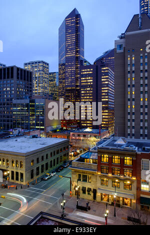 Downtown Calgary, Alberta Canada at night looking north facing Centre Street Southwest at the intersection of 8th - Stock Image