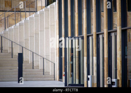 The modern exterior facade of the Rhein Main Congress Center in Wiesbaden at the entrances. - Stock Image