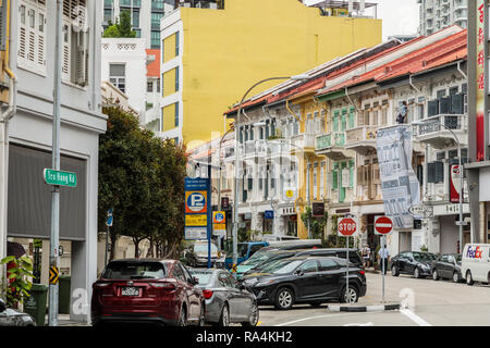 Tee Hong Rd looking towards Bukit Pasoh Rd, Singapore - Stock Image