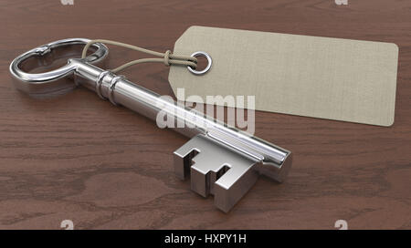 Old Key and Blank Tag label for Copy Space. Wooden background. Shallow depth of field 3D render. - Stock Image